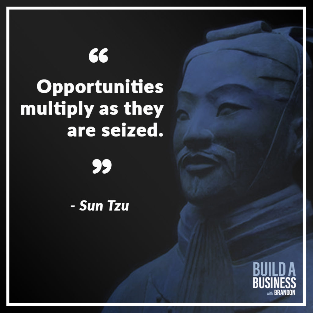 Opportunities multiply as they are seized. As seen on 7 Quotes to Inspire Success in Your Life and Business blog post on the BrandonCWhite.com.