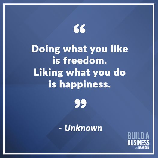 Doing what you like is freedom. Liking what you do is happiness.